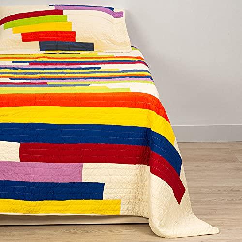 Colcha de Verano Juvenil - Colcha Fresca de Verano con Colorido diseño de Rayas, Incluye 2 Fundas de Almohada en Juego. Cubrecama de Verano 100% algodón para Camas 135/150.