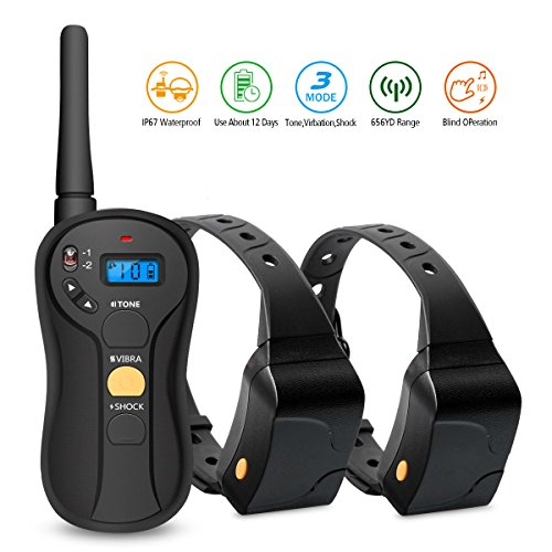 FOCUSPET Dog Shock Collar, Remote Dog Training Collar with Vibration, Beep, Shock Rechargeable and Waterproof Electronic Collar for Dogs