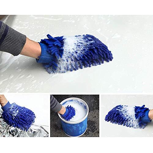 KOBWA Wasserdicht Mikrofaser Waschhandschuh Autowaschhandschuh Chenille Mikrofaser Waschen Handschuhe für Auto Oder Haushalt Reinigung