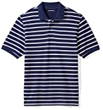 Amazon Essentials Men's Regular-Fit Cotton Pique Polo Shirt, Navy/White Stripe, Medium