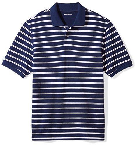 Amazon Essentials Men's Regular-Fit Cotton Pique Polo Shirt, -Navy/White Stripe, X-Small