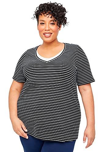 Catherines Women's Plus Size Suprema Striped Duet Top - 5X, Black White Stripe (6011)