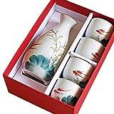 AABBC Juego de Sake de Agua - 5 Juegos de Juego de Sake con Embalaje - Diseño Pintado a Mano Cerámica de Porcelana Taza de cerámica Tradicional Artesanía Copa de Vino