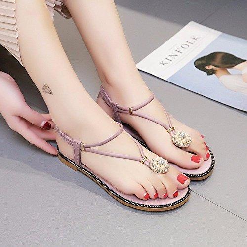 BTBTAV Taladro Clip-Water Fondo Plano Sandalias Zapatos De Mujer Sandalias UE Banda Elástica 38 Rojo