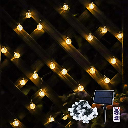 Lichterkette Solar, 30er Warmweiß LED Globe, Wasserdicht, Automatisches Aufladen, Lichtsensor, Lichterkette Außen mit Fernbedienung und Timer, Dimmbar