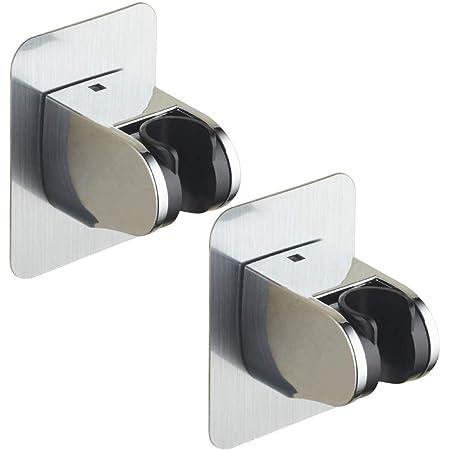 シャワーフック シャワーヘッドホルダー 角度調整 穴あけ不要 防水強粘着 2個セット