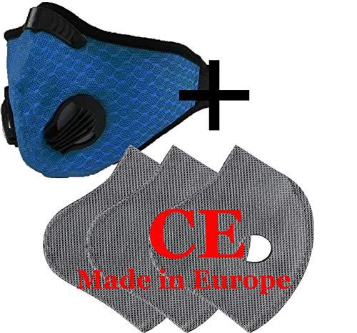 Set Máscara Mascarilla Transpirable Anti Polvo Con 3 Filtro Con 5 Capas Filtro Unisex Máscaras Correr Cubierta Polvo Ciclismo Bicicleta Reflectante Máscara de Seguridad Exterior CE 4sold (Azul)
