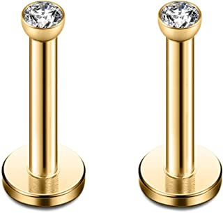 Ruifan 316L Stainless Steel 2mm Round CZ Gem Internally Threaded Labret Monroe Lip Ring Tragus Nail Helix Earring Stud Barbell Piercing Jewelry 16G 2-8pcs