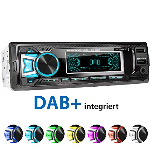 XOMAX XM-RD275 Car Stereo with DAB+ Radio, FM RDS, Bluetooth Hands-Free Function I without CD drive I USB Port (up to 128 GB) I SD Card Slot (up to 128 GB) I MP3 WAV I AUX IN I DIN1 I Including Cage