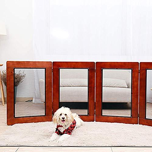Cuatro vallas para mascotas verticales plegables de madera maciza, puerta de cerca de perros de interior, protección para perros grandes, medianos y pequeños, para la casa, puerta, escaleras, cerca de