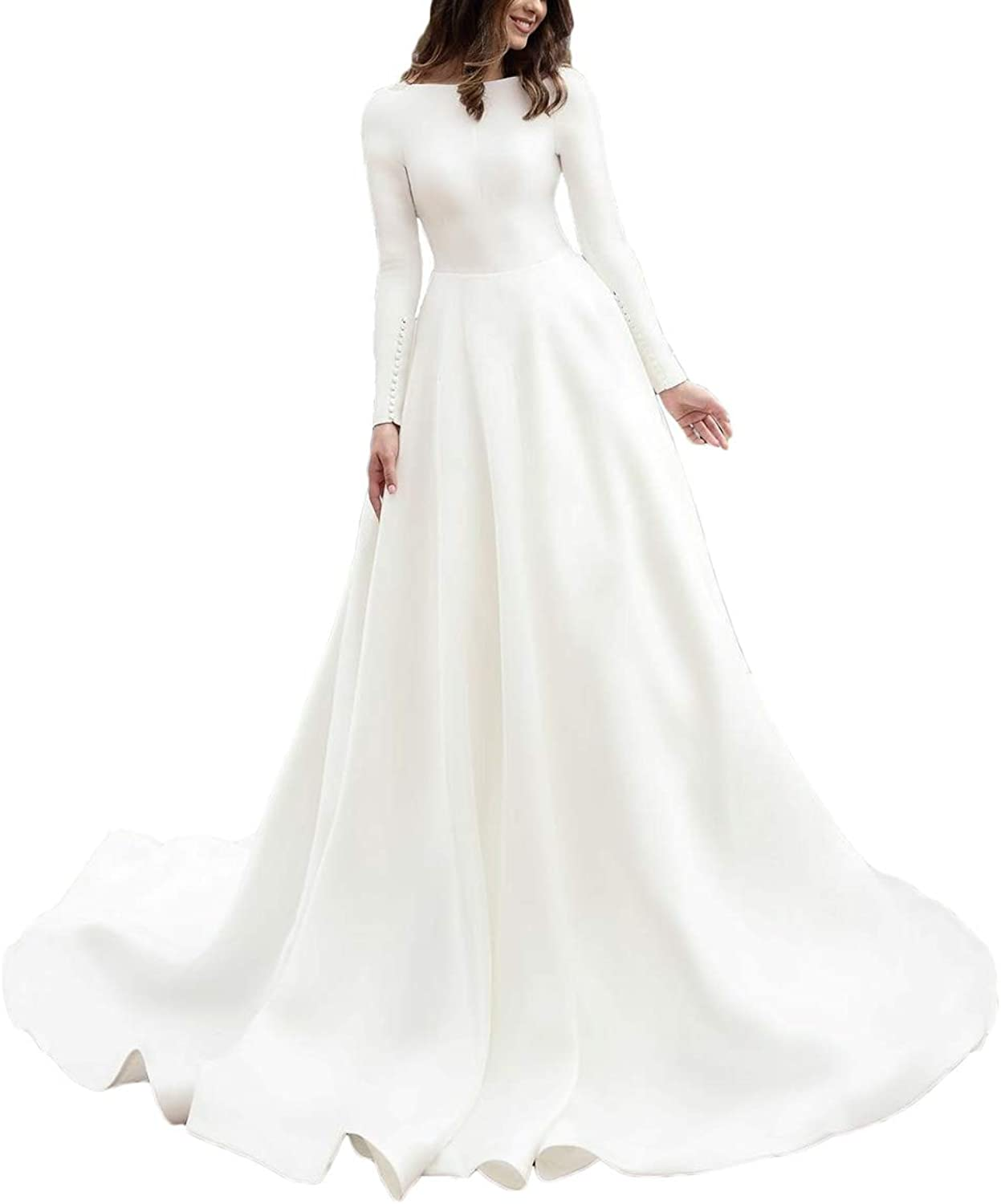 Alilith.Z Elegant Boat Neck Satin Wedding Dresses for Bride 2019 Long Sleeve Bridal Wedding Gowns for Women with Train