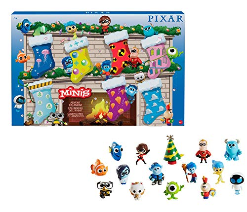 Disney Pixar Minis Advent Calendar with 14 Mini-Figures from Multiple Disney and Pixar Movies, 1 Mini-Tree & 10 Stickers for Collectors, Fans & Kids Ages 3 Years & Up, GRM89