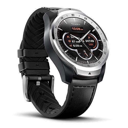 Reloj Inteligente TicWatch Pro con Bluetooth, Pantalla en Capas, Asistente Google, medidor de Ritmo cardiaco y pagos NFC. Sístema Google Wear OS. Compatible con iPhone, Samsung, Huawei, LG y Android