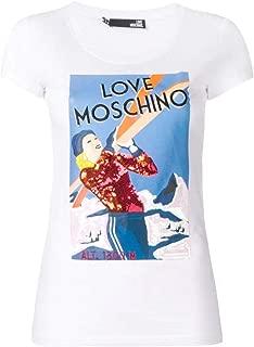Love Moschino Moschino Donna t-Shirt in Jersey con Logo Metallico Bianco