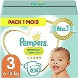 Pampers Couches Premium Protection Taille 3 (6-10kg) notre N°1 pour la protection des peaux sensibles, 204 Couches (Pack 1 Mois)
