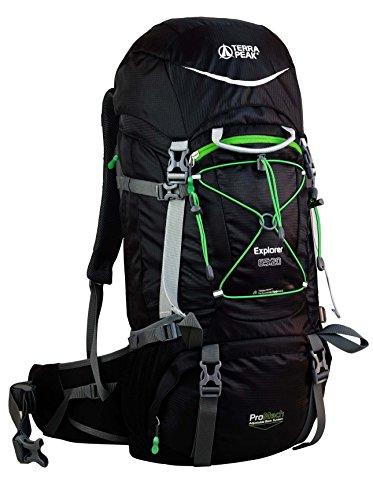Terra Peak Explorer - Mochila de Senderismo Negro Negro y Verde Talla:60 x 35 x 14 cm, 65 litros