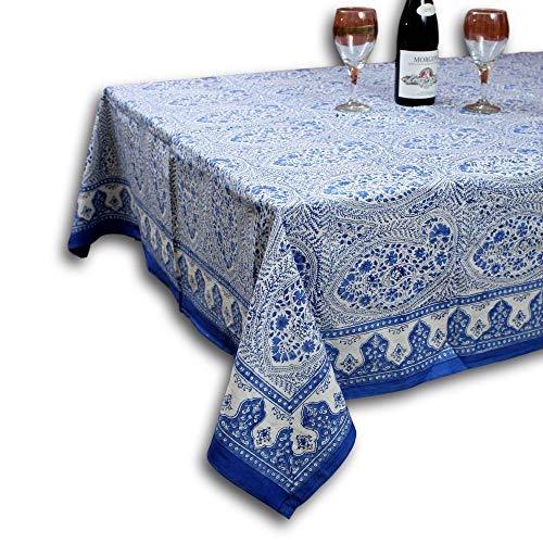 HOMESTEAD Cotton Hand Block Print Floral Paisley Tablecloth Rectangular, Blue White Fabric Tablecloth (Blue White, Rectangular 60 x 90 inches)