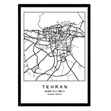 Blade Teheran Stadtkarte nordischen Stil schwarz und weiß.