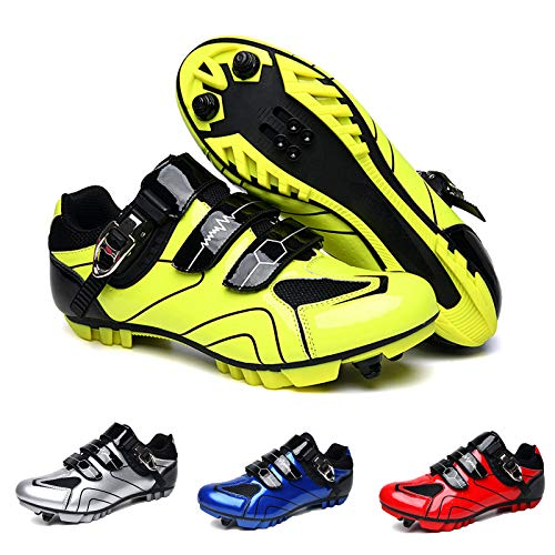 SHEHUIREN Speed MTB Cycling Shoes Men Outdoor Sports Adult Mountain Bike Sneakers Racing Women Bicycle Shoe Flat Road Cleat Specialized,Green,45