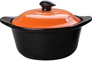 l.e.i. Stovetop Ceramic Stew Pot,Hot Pot Clay Pots with Color Lid,Gas Safe Not-Stick Stockpot Cookware Casserole Dish Coco...
