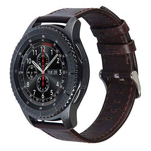 Pulseira de Couro para Samsung Gear S3 Frontier - Gear S3 Classic - Galaxy Watch 46mm - Marca Ltimports (Café)