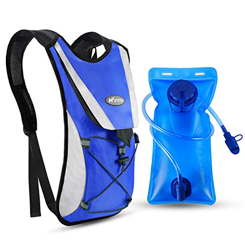 Kuyou Professional Hydration Backpack, Water Bag Backpack with 2L Hydration Pack Water Bladder Perfect for Hiking Backpack Cycling Rucksack Climbing Camping Running Bags (Blue)