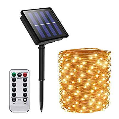 SIYIBAEBY Solar String Lights Outdoor, USB Plug Solar Powered Fairy Lights Waterproof Copper Wire String Lights for Patio Outdoor Garden Yard Party Indoor Decoration