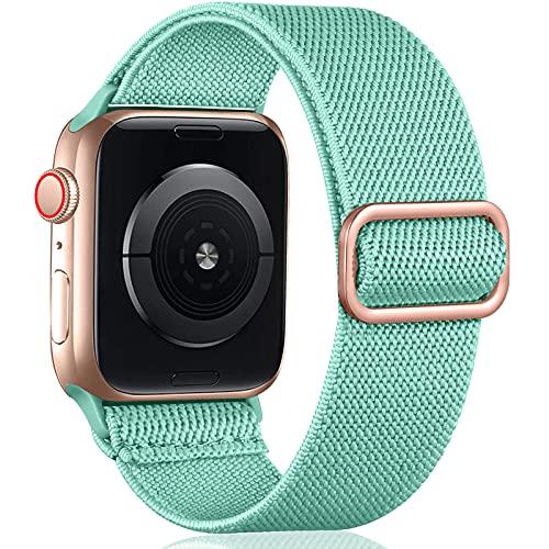Oielai Solo Loop Correa de Compatible con Apple Watch 44mm 42mm 38mm 40mm, Correa Nylon de Repuesto Elástico Compatible con Apple Watch SE/iWatch Series 6 5 4 3 2 1, 38mm/40mm, Verde Turquesa