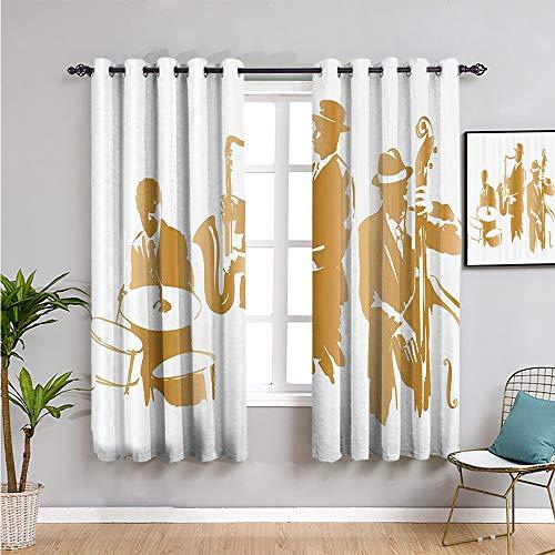 SONGDAYONE Jazz Music Decor Home Decor Sliding Door Curtains, Curtains 45 inch Length...
