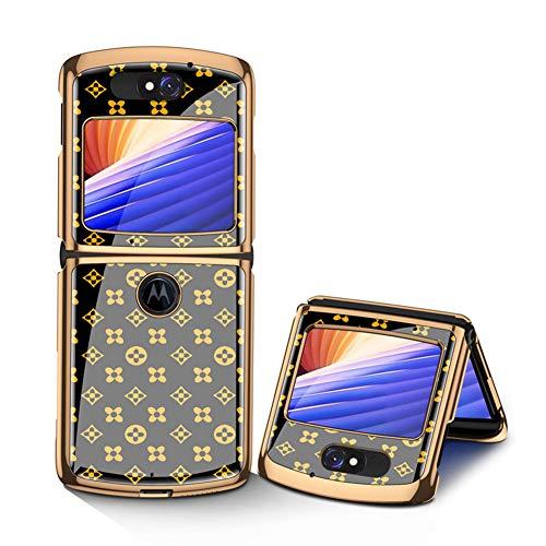 MingMing Hülle für Motorola Razr 5G Hardcase Stoßfest Schutzhülle PC + 9H Gehärtete Glasabdeckung, Superdünne handyhülle für Motorola Razr 5G, Grasblume