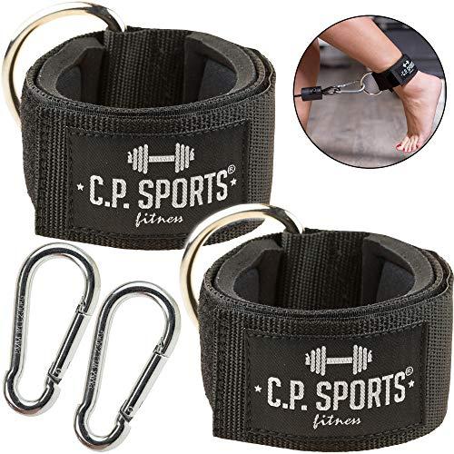 C.P. Sports 1 Paar / 2 Stück + Karabinerhaken Hand- und Fußschlaufe Zughilfen Komfort für Fitness am Kabelzugturm