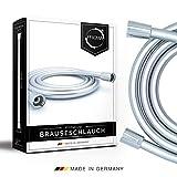 PRISMA Brauseschlauch 160cm mit doppeltem Verdrehschutz. Duschschlauch MADE IN GERMANY - Extrem flexibel, verdrehsicher, mit Knickschutz. Kunststoffschlauch mit Drehwirbel in Edelstahl-Optik