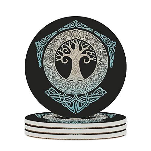 Knowikonwn Posavasos de cerámica vikingo, vegvisir, duraderos, de cerámica personal, taza de agua, posavasos lindos para exteriores, blanco3 4 unidades