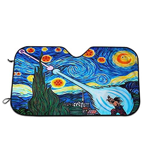 Dragon Cool Ball Z Starry Night1 Windshield Sun Shade - Blocks Uv Rays Sun Visor Protector Sunshade | Easy to Use Car Window Shade | Fits Most Windshields Automotive,27.5 X 51 in