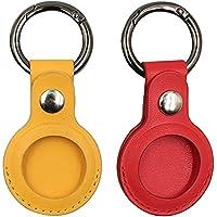 2個のAirtags保護カバー、Apple Airtagキーホルダー用、レザーAirtagsホルダーアンチロストケース、BluetoothトラッカーケースAirtags用保護スキン Black+ Brown