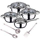 San Ignacio Batería de cocina 7 piezas en acero inoxidable + Set 3pcs Utensilios de cocina en Acero Inoxidable, PK3369