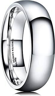 King Will Basic Men's 2mm 4mm 6mm 8mm High Polished Comfort Fit Domed Tungsten Carbide Ring Wedding Band