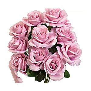 12 Dusty Lavender Open Roses Fake Faux Silk Wedding Lilac Artificial Flowers