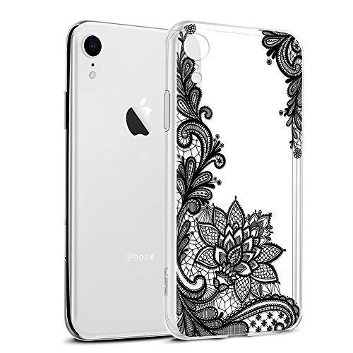 Cover iPhone XR, Eouine Custodia Cover Silicone Trasparente con Disegni Ultra Slim TPU Morbido Antiurto 3D Cartoon Bumper Case Protettiva per Apple iPhone XR 6,1 Pollici Smartphone (Fiore Nero)