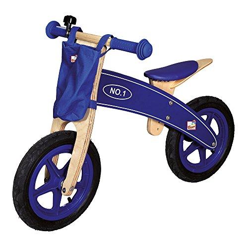 Bino & Mertens 82705 - Holz-Laufrad blau, mit Tragetasche, sehr stabil und bequem. Sitzhöhe verstellbar. Größe ca. 82x40x57 cm.