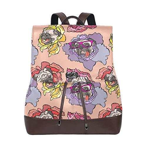 Ahomy - Mochila de piel sintética para mujer, diseño de perro carlino, antirrobo, mochila de hombro