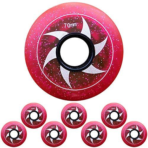 85A Sternenhimmel Inliner Rollen für Kinder Teenager Anfänger Inline Skate Ersatzrollen 64mm 68mm 70mm Hockey Skates Rollen,Rot,68mm