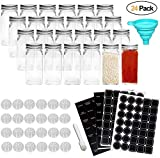 24PCS Glass Spice Jars with Shaker Lids-4oz Square Spice Jar with Label, Shaker Insert Tops, Airtight Cap,Chalkboard Pen, Wide Funnel, for Spice Herbs Seed and Small Items Storage and Organization