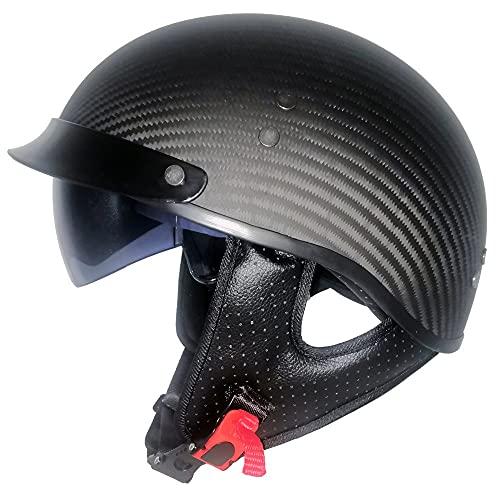 Casco Demi Jet Caschi Aperto Approvato DOT/ECE Casco a scodella per Donna Uomo Adulti Mezzo Casco Moto Chopper Light Motorcycle Scooter (Color : Black)