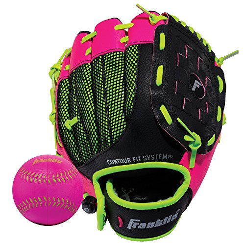 Franklin Sports Teeball Glove - Left and Right Handed Youth Fielding Glove - Neo-Grip - Synthetic Leather Baseball Glove - 9.0 Inch Left Hand Throw - Ready To Play Glove with Ball - Pink