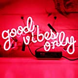 Neon Signs Good Vibes Only Neon Sign Neon Light Sign Light Up Signs Wall Decor Custom Neon Sign Neon Words for Wall Bedroom Girls Halloween Christmas Decor Neon 14x8 inch