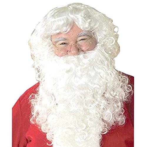 TopWigy Weihnachtsmann Bart und Perücke Weiß Nikolaus Kostüm Weihnachten Santa Claus Nikolaus Ruprecht Gott Hellblond Karneval Halloween