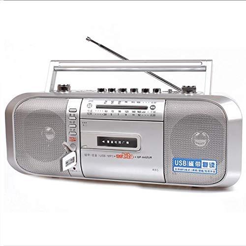 ZXCV Tragbarer Kassettenrekorder, Bluetooth-Digital-USB-Audio-Musik, Konverter von Kassette zu MP3-Format - PC ist Nicht erforderlich,Silber