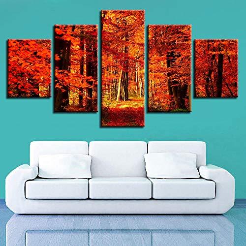 HNSYZS 5-delad canvas väggkonst hd skogslönn löv väggkonst bild vardagsrum vägg
