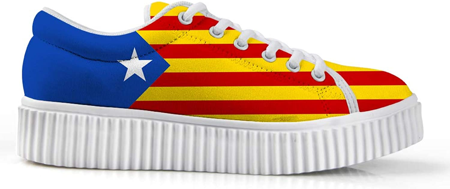 Owaheson Platform Lace up Sneaker Casual Chunky Walking shoes Low Top Women Catalonia Estelada Flag